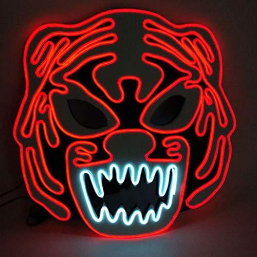 Dkings Halloween Maske LED Masken Glow Scary Maske leuchten Cosplay Maske, Halloween Kostüm - Zwei Gesicht Batman Kostüm