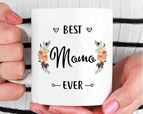 DKISEE Best Momo Ever Mug, Momo Mug, Momo Gift, Best Momo Ever, Birthday Gift for Momo, Momo Coffee Cup, Momo, Gift for Momo, Mother's Day Gift, 15 Ounce Coffee Mug Tea Cup 6 Demitasse Cup
