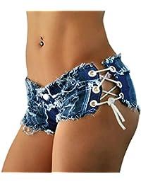 LAEMILIA Shorts Mini Femme Jean Court Sexy été Taille Baisse Bandage Vintage Pantalon Short Bermudas Denim Collant