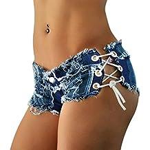 LAEMILIA Shorts Mini Femme Jean Court Sexy été Taille Baisse Bandage  Vintage Pantalon Short Bermudas Denim 9fd600d8ef0