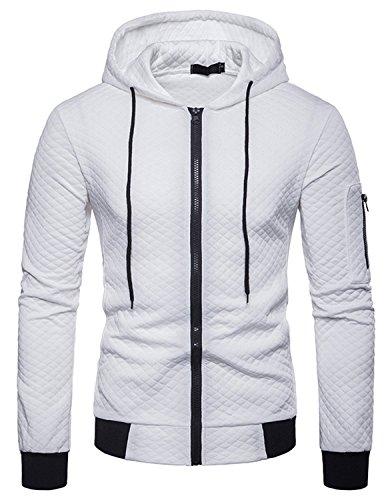WHATLEES Herren Langarm Kapuzen Jacken - beiläufiger Kapuzenpullover mit Reißverschluss Urban BA0093-white-XL