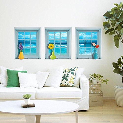 LXPAGTZ Simulato simulazione creativa di parete stereo 3D stickers murale carta da parati sullo sfondo delle camere da letto decorazione divano del soggiorno porcellana libreria Armadio portascarpe la vernice di adesivo verde finestra #002 , I