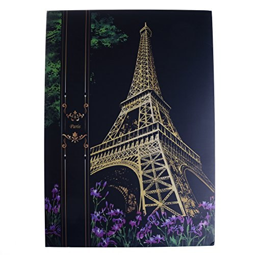 Bunte Scratch Art DIY Papier Scratch Art Doodle Pad mit 1Golden Stylus und 1Holz Stylus Paris Eiffelturm
