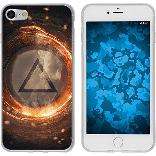 PhoneNatic Case für Apple iPhone 7 Silikon-Hülle Element Feuer M3 Case iPhone 7 Tasche + 2 Schutzfolien Motiv:03 Element Feuer