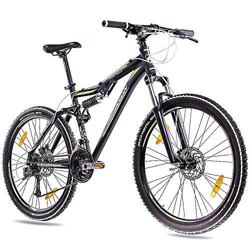 CHRISSON 26 Zoll Mountainbike Fully - Contero schwarz - Vollfederung Mountain Bike mit 24 Gang Shimano Deore Kettenschaltung - MTB Fahrrad für Herren und Damen mit Suntour Federgabel