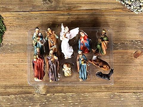 KF67 Large Nativity Figures Set of 11–tlg. Set, 6 CM max. New Complete Nativity Figures / BTV Crib for Many Nativity Scene BTV Mary, Joseph, 3 Wise Men, Jesus, Angel, Shepherd, Sheep, Ox, Donkey, Christmas Nativity Crib Ornament Figure Flötenspieler