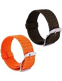 2pcs reloj de nylon trenzada correa de verano reemplazo del tejido hombres  de venda mujer reloj 390e6ed72abb