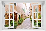 Wallario Acrylglasbild mit Fenster-Illusion: Motiv Südländische Gasse mit Alten Häusern und grüner Oase - 60 x 90 cm mit Fensterrahmen in Premium-Qualität: Brillante Farben, freischwebende Optik