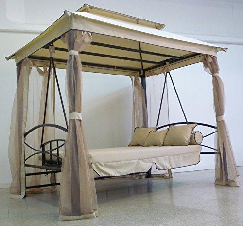 Gazebo parasole da giardino con dondolo letto e zanzariere - Letto da giardino ...