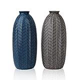 Hannah's Cottage Outdoor Paradise Vase Blau Vasen Keramik, Vasenset Blumenvase 21cm 2er Set Modern Dekorative Vase für Wohnzimmer, Küche, Tisch, Zuhause, Büro, Hochzeit oder ALS Geschenk
