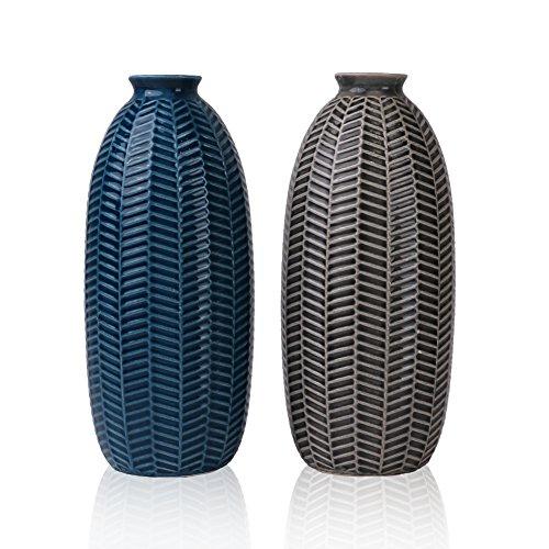 Hannah\'s Cottage Outdoor Paradise Vase Blau Vasen Keramik, Vasenset Blumenvase 21cm 2er Set Modern Dekorative Vase für Wohnzimmer, Küche, Tisch, Zuhause, Büro, Hochzeit oder ALS Geschenk