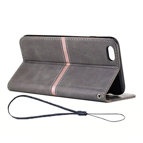 SKKMA Case Cover Étui pour iPhone 6 et 6s, Crazy Horse Texture en cuir PU en cuir horizontal en cuir avec porte-cartes et porte-cartes et portefeuille et cadre photo et cordon ( Color : Grey ) Grey