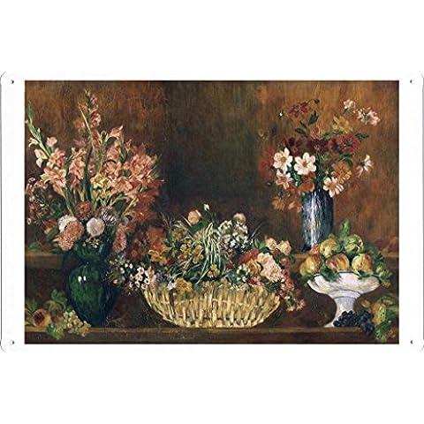 metallo manifesto piatto decorazione della parete Targa in metallo di Pierre-Auguste Renoir - Still Life with Flowers and Fruit 20*30cm by Masterpiece