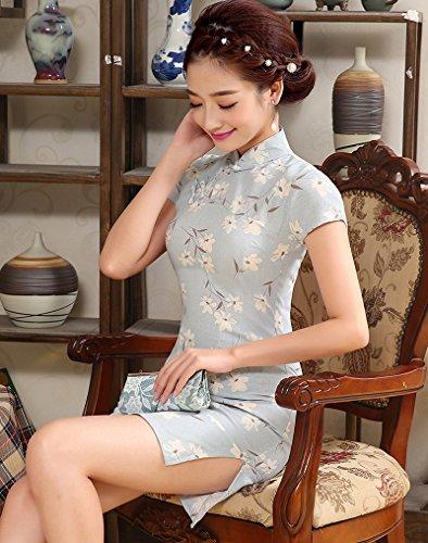 Luck Femme Chinois Qipao/Robe Imprimé Manche Courte en Chanvre Couleur1