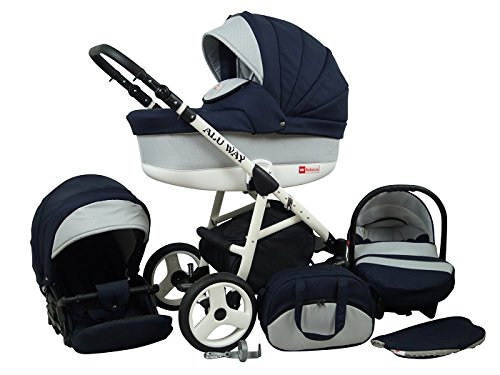 Kinderwagen BABYLUX ALU WAY DUNKELBLAUER, 3 in 1- Set Wanne Buggy Babyschale,Muffe