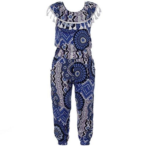 i Overall Einteiler Onesie Mädchen Freizeit Stoff Body 21784, Farbe:Blau, Größe:116 (Rockabilly Girl Kostüme)