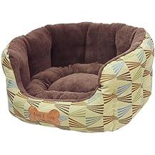 Snuggle Bed Sassari ovale verde con Brown in pile, da 21 pollici