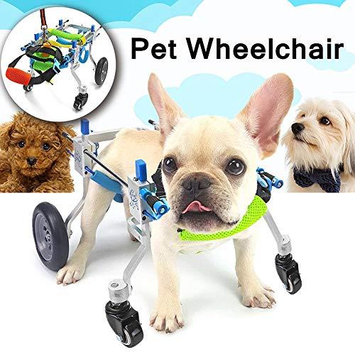 BEST WALKING Hunderollstuhl Hunde Gehhilfe Einstellbare 4 Räder Orthopädisch Für Alte Behinderte Kleine Große Hunde Zurück-Beine Pet Rehabilitation Assist (1-50kg XXS-XL - Alten Make-up
