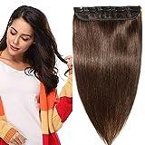 """Extension a Clip Cheveux Naturel Monobande Une Pièce Rajout Vrai Cheveux Humains - Remy Human Hair Extensions Clip (#02 Brun, 24""""/60cm-60g)"""