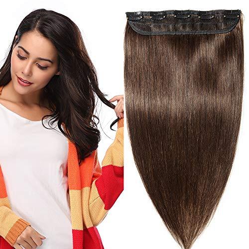 Extension capelli veri clip fascia unica one piece remy human hair lunga 40cm pesa 45g, #2 marrone scuro