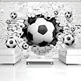 ForWall Fototapete Vlies Tapete Design Tapete Moderne Wanddeko Gratis Wandaufkleber 3D Fußbälle in der Ziegelwand VEXL (208cm. x 146cm.) Photo Wallpaper Mural AMF3383VEXL Imitation Sport Ziegel Backsteine Mauer Fussball TAPETENKLEISTER INKLUSIV