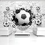 ForWall Fototapete Vlies Tapete Design Tapete Moderne Wanddeko Gratis Wandaufkleber 3D Fußbälle in der Ziegelwand VEXXXL (416cm. x 254cm.) Photo Wallpaper Mural AMF3383VEXXXL Imitation Sport Ziegel Backsteine Mauer Fussball TAPETENKLEISTER INKLUSIV