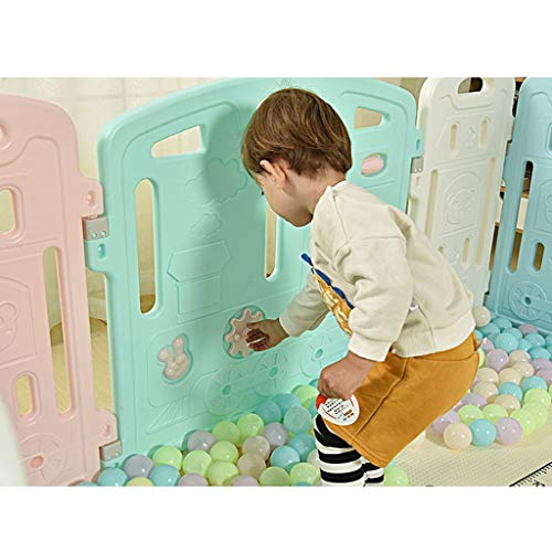 LIUFS-Playpens Children's Play Fence Indoor Fence Home Security Fence Crawling Mat with Slide (Size : 16 Fence 1 Door bar 1 Toy bar)  LIUFS-Playpens