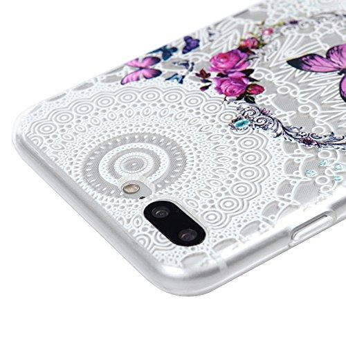 MAXFE.CO TPU Silikon Hülle für iPhone 7 Plus Handyhülle Schale Etui Protective Case Cover Rück mit Weiße Feder Vogel Skin Volltonfarbe Design Schutzhülle Kranz Schmetterling