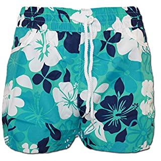 A-Express Turquoise Floral Flower Summer Beach Shorts Size 8-10