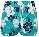A-Express Türkis Damen Badeshorts Sommer Blumen Shorts Surfen Blumenmuster Strand Hose Größe 42