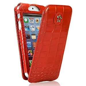 Issentiel Paris - Housse pour iPhone 5/5S Cuir Croco Rouge - Collection Tradition