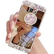 Sunroyal Funda para Galaxy S6, Carcasa para Samsung S6, 3D Lujo Bling Glitter Espejo con 360 Grados Rotación Anillo Funda Suave TPU Silicona Carcasa Diamante Bumper Case Ultra Thin Mirror Efecto Bumper Hard Case Shell Cover para Samsung Galaxy S6 G9200 SM G920F-Oro