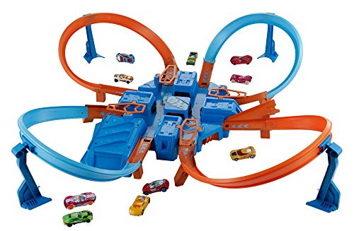 Hot Wheels DTN42 Action Criss Cross Crash Trackset, motorisiertes Auto Looping Spielset -