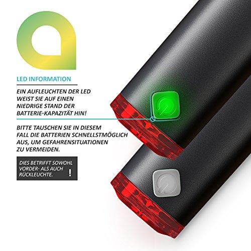 CSL – LED Fahrradbeleuchtung Set StVZO zugelassen | Fahrradlicht / Fahrradlampe / Fahrradleuchte | inkl. Front- und Rücklicht | 1x Lichtstärke-Modus | energiesparend | stoßfest - 4