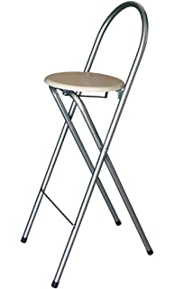 KMH Tabouret De Bar Pliable Pratique Avec Decor Hetre 204708