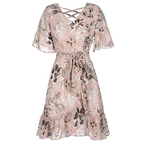Frau Classic Swing Kleid Business Hochzeit Rock Frau Chiffon Mittlere Taille Bunte A-Line V-Ausschnitt Kleider,Pink-M