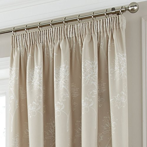"""DREAMS AND DRAPES One pair of Sandhurst Pencil Pleat (3″"""" header) Curtains in Natural, Size: 46×72 (117 x 183 cm) width x drop"""