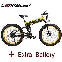 LANKELEISI 26 Fat Wheel Bicicleta Eléctrica Plegable 48V 500W Shimano 27 Velocidad Suspensión Completa