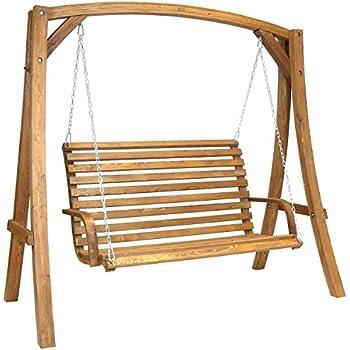 Charles bentley balancelle de jardin 2 3 places mobilier d 39 ext rieur bois de larix 1 9 m - Balancelle exterieur jardin ...