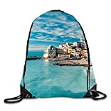 phjyjyeu Beautiful Wolf 3D Print Kordelzug Rucksack Sport Turnbeutel daypackon M The Cinque Terre View8
