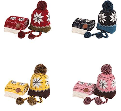 Bigood Bonnet Echarpe Bébé Enfant Cache Oreilles Chapeau d'Hiver Pompon Anniversaire Noël Bordeaux