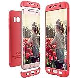 CE-Link Funda para Samsung Galaxy S7 Edge Rigida 360 Grados Integral, Carcasa S7 Edge Silicona Snap On Diseño Antigolpes Choque Absorción, Samsung S7 Edge Case Bumper 3 en 1 Estructura - Rojo