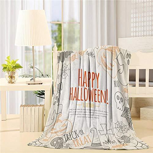 WWTZ Modernes Zuhause Happy Halloween Ghost Kürbis Fledermaus Skizze Kunstdrucke Fleecedecke Blatt werfen Bettwäsche Decke