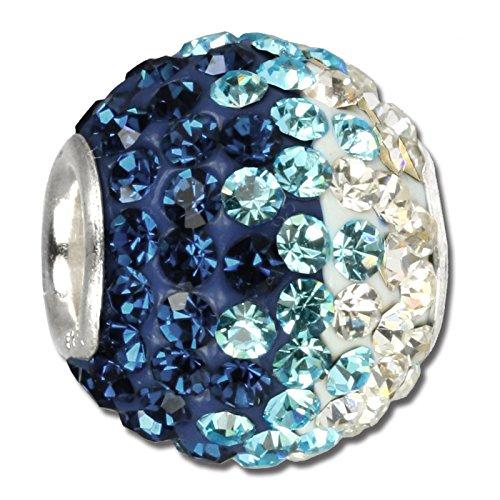 Silberdream poposh bead con swarovski turchese ice silberdream argento perline per braccialetti gsb006