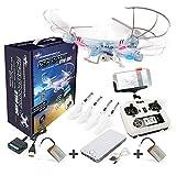DROHNENSTORE24.DE ...DER DROHNEN-GURU DS24 Akku Pack Drohne Spooky SYM X5C WiFi Quadrocopter inkl. 2 Akkus und Powerbank FPV Design Transparent