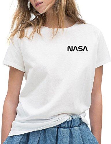 OUNAR Moda Mujer NASA Carta Imprimir Casual Camiseta de Manga Corta Top