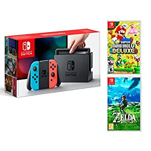 Nintendo Switch 32Gb Neon-Rot/Neon-Blau + New Super Mario Bros. U Deluxe + Zelda Breath Of The Wild