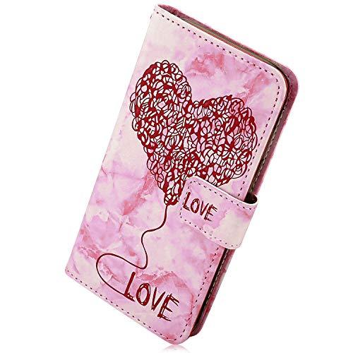 Kompatibel mit Handy Hülle Huawei Mate 20 Lederhülle Bunt Marmor Liebe Herz Muster Flip Case Ledertasche Bookstyle Ultra Dünn Klappbar Handytasche Handy Schutzhülle,Rot (Herz-liebe-marmor Rote)