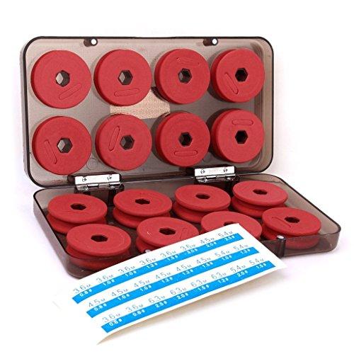 Linea de pesca - SODIAL(R) 16 piezas rojo Linea de pesca de espuma Juegos de bobinas Trastos con caja de plastico
