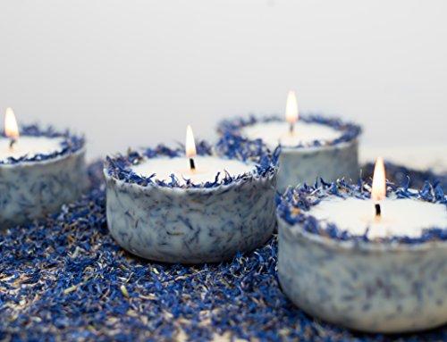 Duftkerze Soja Lavendel Beige Blau Kerze aus Bio Sojawachs ätherisches Lavendel Öl Geschenk - 2
